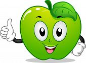 Mascot Illustration of a Green Apple Giving a Thumbs Up