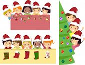 Border Illustration of Happy Stickman Kids with Christmas Banner