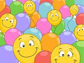 Background Illustration of Smiling Balloons