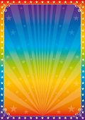 Rainbow star circus. A multicolored poster for your show.