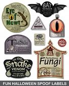 Fun Halloween Spoof Vector Labels.  Bring a smile to your Halloween party with these great unique labels.