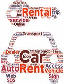 Car rental pictogram tag cloud illustration