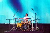 Drum player performing
