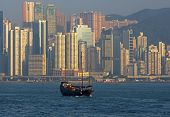 image of urbanisation  - View from Kowloon at the skyscrapers of Hong Kong Island Hong Kong  - JPG