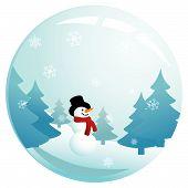 Snowman In Glass Sphere
