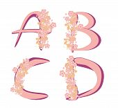 Vector Spring Alphabet With Flowers Letters A,b,c,d