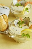 Cream Soup From Blue Cheese And Seafood