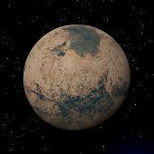 Mars Planet At Night - 3D Render