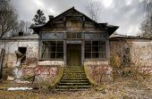 foto of abandoned house  - big old abandoned house ruin in transylvania - JPG