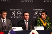NEW YORK-DEC 8: (L to R) Collin Klein, Johnny Manziel and Manti Te'o attend the 2012 Heisman finalis