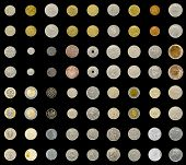 stock photo of copper coins  - coin collection with old coins isolated on a black background - JPG