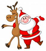 Reindeer and Santa embracing each other