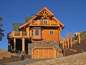 Log Cabin Home Exterior With Warm Fireplace ~ Perfect Vacation Getaway To Celebrate Xmas, The New Ye