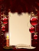 Christmas background with candle and balls