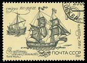 Ussr - Circa 1987: A Stamp Printed In The Ussr Shows A Ship, Circa 1987