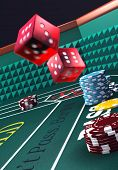stock photo of crap  - Casino craps table red dice in motion  - JPG