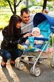 Dauther In Baby Carriage