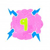 retro cartoon thundercloud symbol with number nine