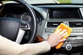 image of car-window  - Hand with microfiber cloth cleaning car - JPG