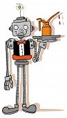 cartoon illustration of a robot waiter loosely colored holding a tray with oil can