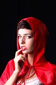 image of little red riding hood  - Sexy woman poses as a Red Riding Hood - JPG