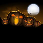 Halloween moonlight night background with scary pumpkins,  can be use as flyer, banner or poster for