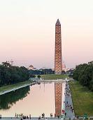 Washington Monument Reflecting At Night