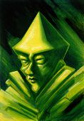 stock photo of gnome  - a strange picture painted by me showing the face of a green gnome - JPG
