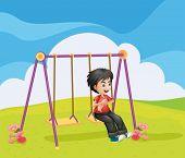 Illustration of a boy swinging alone