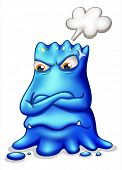 Illustration of a frustrated blue monster with an empty callout on a white background
