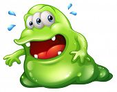 picture of bulge  - Illustration of a greenslime monster escaping on a white background - JPG