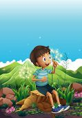 Illustration of a boy thinking while sitting above a stump