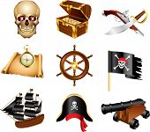 stock photo of pirate flag  - pirates and treasures icons detailed vector set - JPG