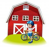 Illustration of a boy with a bike standing in front of the farmhouse on a white background