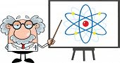 Funny Scientist Or Professor With Pointer Presenting An Atom Diagram