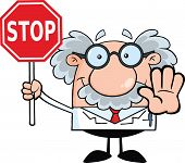 image of professor  - Scientist Or Professor Holding A Stop Sign Cartoon Character - JPG