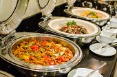 foto of thai cuisine  - Thai style cuisine spicy food in buffet set - JPG