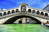 VENICE, ITALY - APRIL 11: A view of the Grand Canal and the Rialto Bridge on April 11, 2013 in Venic