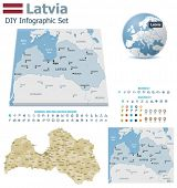 Latvia maps with markers