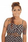 Woman Tattoos Dot Dress Stand Smile Face