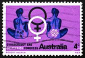 Postage Stamp Australia 1967 Seated Women, Female Symbol