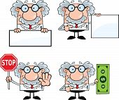 stock photo of physicist  - Funny Scientist Or Professor Cartoon Characters  Set Collection 5 - JPG