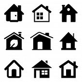 Black home icons isolated on white