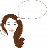 Vector portrait of beautiful thinking asian woman