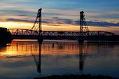 Sunset Over The Portsmouth New Hampshire Bridge