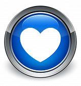 Love Icon Glossy Blue Button