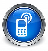 Phone Ringing Icon Glossy Blue Button