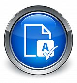 Spell Check Document Icon Glossy Blue Button