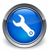 Wrench Icon Glossy Blue Button