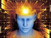stock photo of understanding  - Arrangement of human head and symbolic elements on the subject of human mind consciousness imagination science and creativity - JPG